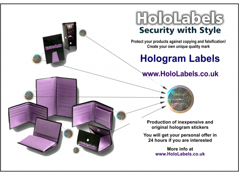 Hologram Labels fast and affordable with their logo